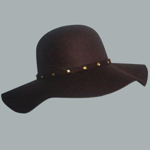 Chic Rivet Strappy Embellished Round Top Women's Felt Floppy Hat - BROWN