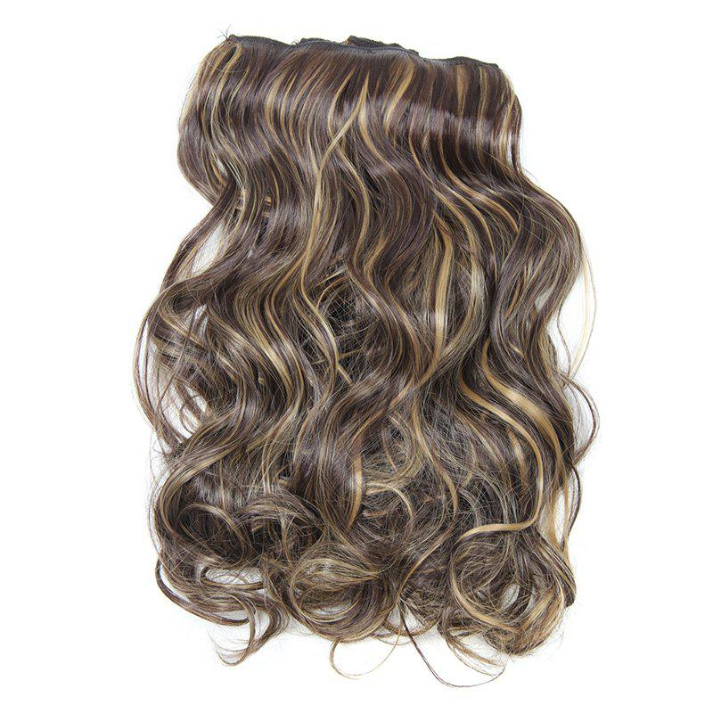 Fluffy Curly Assorted Color Long Charming Clip-In Synthetic Womem's Hair Extension Suit - H