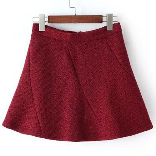 Sweet Candy Color Zippered A-Line Skirt For Women - WINE RED M