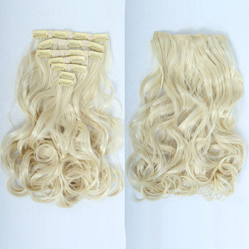 Shaggy Curly Clip-In Ladylike Long Synthetic Assorted Color Hair Extension Suit For Women - BLONDE