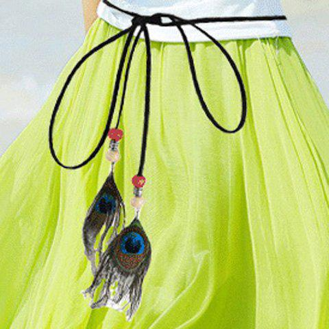 Chic Peacock Feather Pendant Embellished Women's Waist Rope