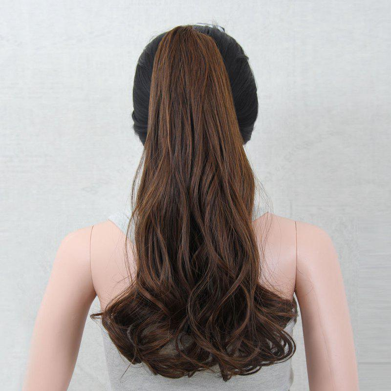 Western Style Vogue Heat Resistant Synthetic Fluffy Long Wavy Women's Claw Clip In Ponytail -  BROWN M