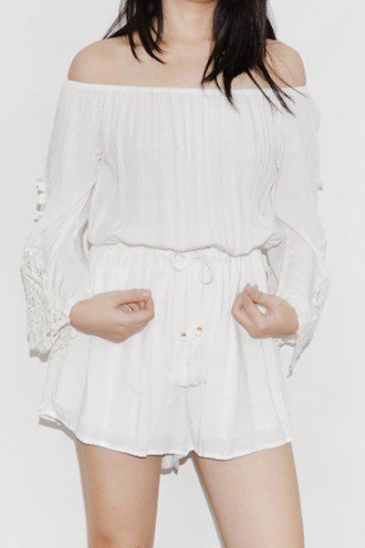Stylish Off-The-Shoulder Bell Sleeve Drawstring Waist Women's Romper - WHITE ONE SIZE(FIT SIZE XS TO M)