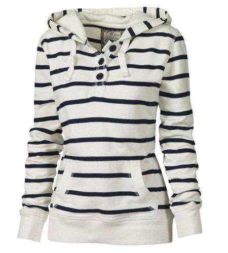 Casual Style Long Sleeve Hooded Pocket Design Striped Women's Pullover Hoodie - WHITE L