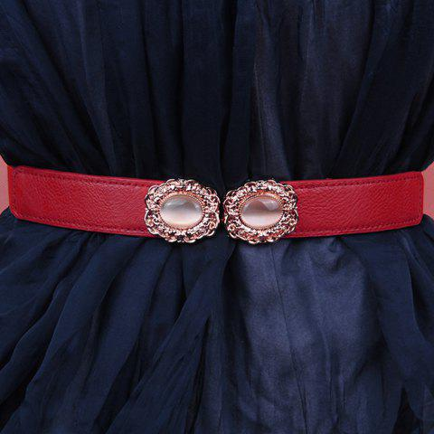 Chic Faux Gem Retro Shape Alloy Embellished Elastic Waistband For Women - RED