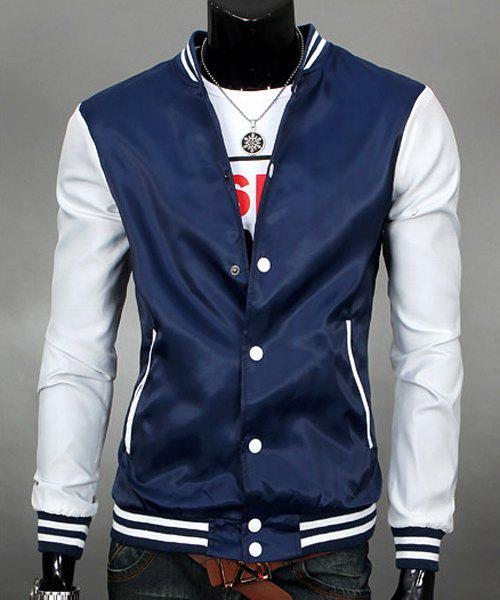 Classic Color Block Striped Rib Spliced Slimming Stand Collar Long Sleeves Men's Sunscreen Jacket - CADETBLUE XL