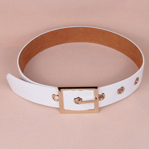 Chic Rectangle Shape Pin Buckle Faux Leather Wide Belt For Women - WHITE