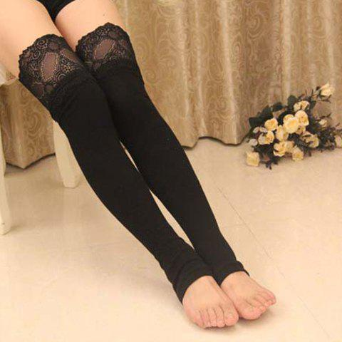Pair of Chic Lace Edge Feet Step Long Black Leg Warmers For Women - BLACK