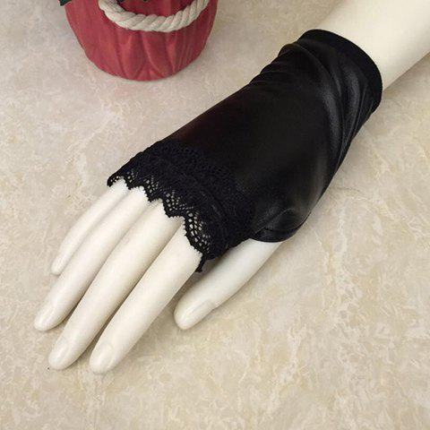 Pair of Chic Lace Edge Embellished Winter PU Black Fingerless Gloves For Women - BLACK