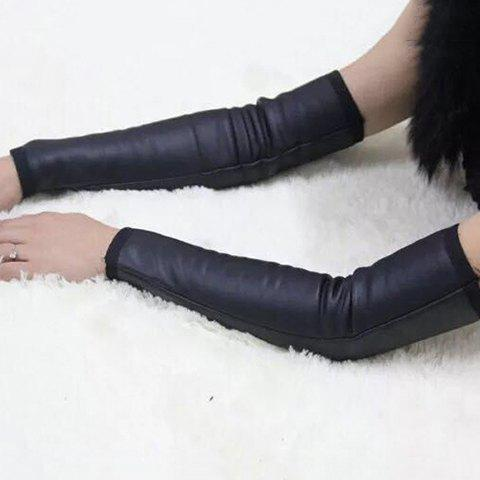 Pair of Chic Winter Thicken Black PU Arm Sleeves For Women - BLACK