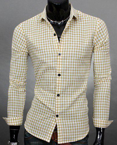 Simple Shirt Collar Color Block Plaid Print Long Sleeves Men's Slimming Shirt - BEIGE XL