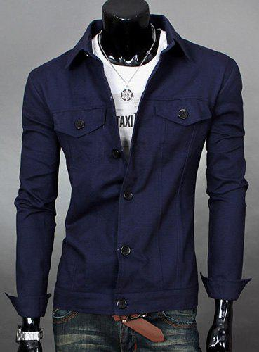 Laconic Stand Collar Patch Pocket Solid Color Slimming Men's Long Sleeves Jacket