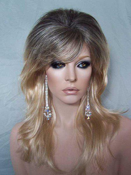 Fluffy Long Wavy Fashion Side Bang Synthetic Stunning Black Blonde Ombre Women's Cosplay Wig - COLORMIX