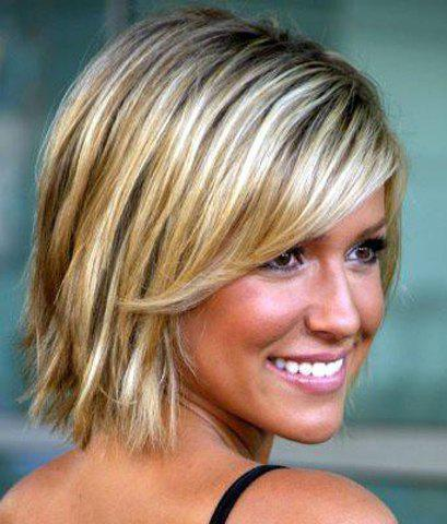 Elegant Straight Short Stylish Inclined Bang Capless Mixed Color Synthetic Women's Wig
