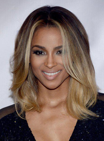 Graceful Brown Blonde Ombre Medium Synthetic Nobby Centre Parting Wavy Women's Wig - OMBRE