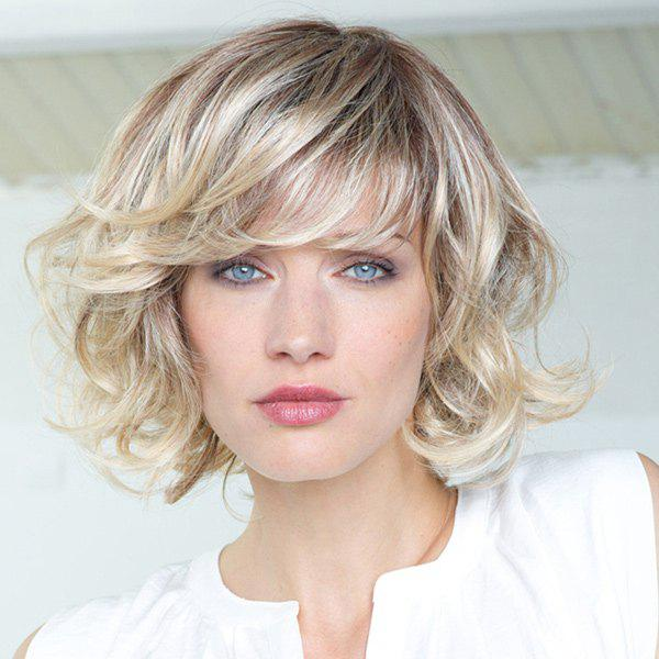 Fluffy Curly Side Bang Vogue Brown Gradient Light Blonde Stunning Short Synthetic Women's Wig - LIGHTBLONDE