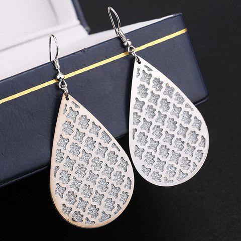 Pair of Water Drop Hollow Out Dull Polish Earrings - SILVER