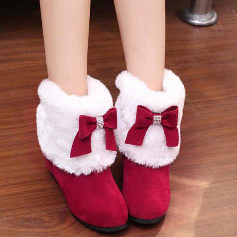 Wedge Heel Bow Trimmed Ankle Boots - RED 36