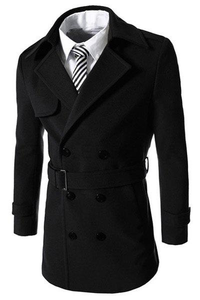 Turn-Down Collar Double Breasted Belt Long Sleeve Men's Woolen Coat