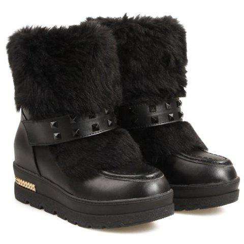 Casual Rivets and Microfiber Design Women's Snow Boots - 37 BLACK