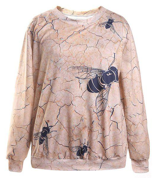 Simple Animal Print Jewel Neck Long Sleeve Sweatshirt For Women - COLORMIX ONE SIZE(FIT SIZE XS TO M)