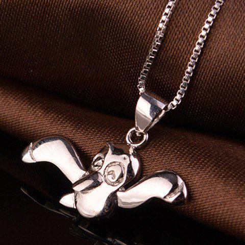 Chic Solid Color Bat Necklace For Women - SILVER