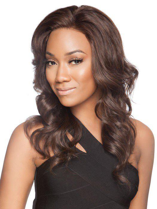 Shaggy Wavy Charming Long Centre Parting Trendy Deep Brown Synthetic Women's Wig - DEEP BROWN