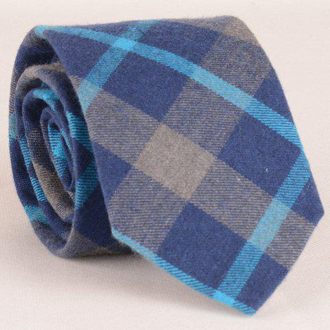 Stylish Tartan Pattern 8CM Width Blue Tie For Men