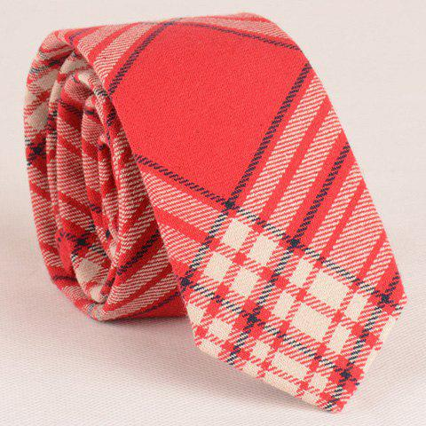 Stylish Tartan Pattern 6CM Width Red Tie For Men
