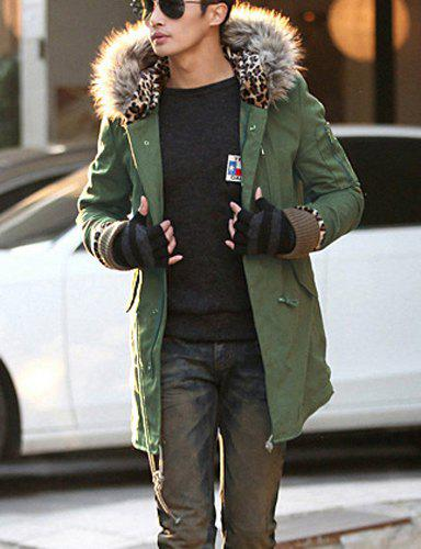 Villus Hooded Drawstring Long Sleeve Loose-Fitting Leopard Lining Thicken Men's Coat - ARMY GREEN M