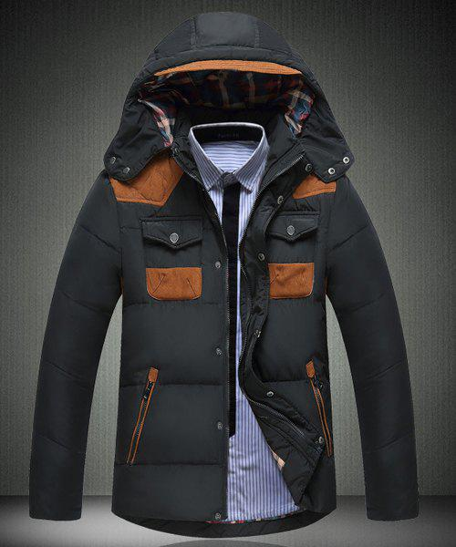 Multi-Zipper Color Spliced Personality Pocket Slimming Hooded Long Sleeves Men's Thicken Down Coat - BLACK L