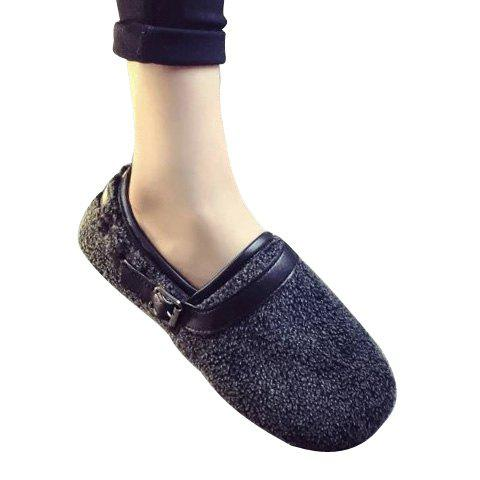 Stylish Flock and Buckle Design Flat Shoes For Women