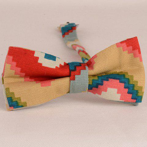 Stylish Colored Mosaic Pattern Bow Tie For Men - RED