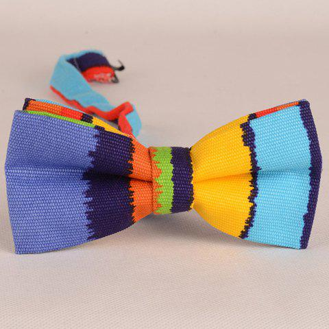 Stylish Multicolor Irregular Stripe Pattern Men's Bow Tie - LIGHT BLUE