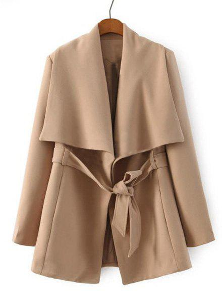 Stylish Long Sleeve Turn-Down Collar Self Tie Belt Pure Color Women's Coat - KHAKI M