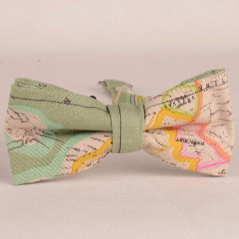 Stylish Topographic Map Pattern Men's Bow Tie - AS THE PICTURE