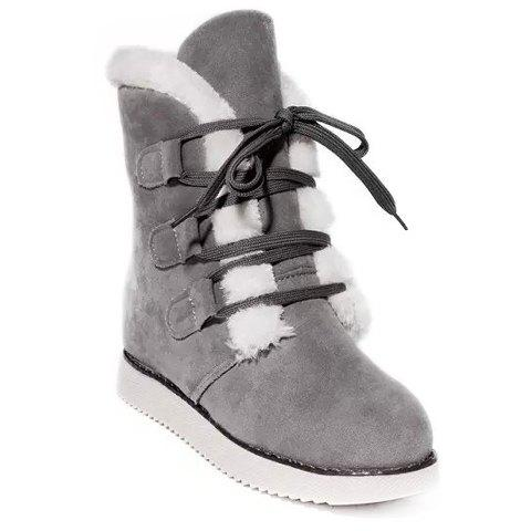 Fashion Suede and Lace-Up Design Women's Snow Boots - GRAY 38