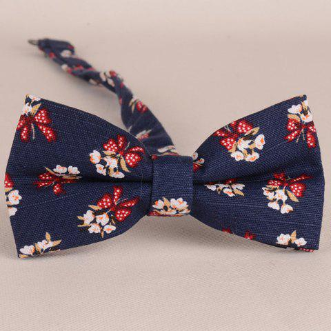 Stylish Flower and Bow Pattern Men's Bow Tie - PURPLISH BLUE