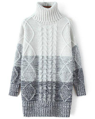 Stylish Long Sleeve Turtleneck Ombre Women's Pullover Sweater - BLUE ONE SIZE(FIT SIZE XS TO M)