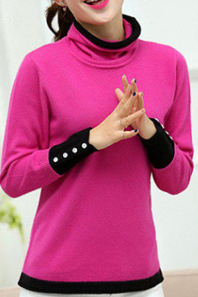 Chic Women's Long Sleeve Turtleneck Pullover Sweater - ROSE ONE SIZE(FIT SIZE XS TO M)