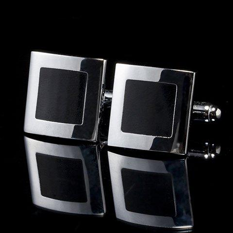 Pair of Stylish Square Shape Smooth Surface Cufflinks For Men - SILVER/BLACK