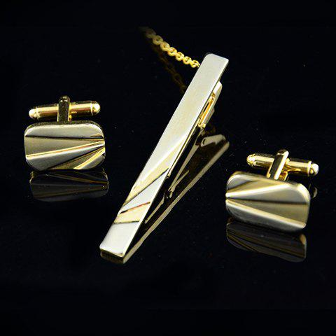 3PCS Delicate Engraved Rectangle Square Shape Cufflinks For Men - GOLDEN