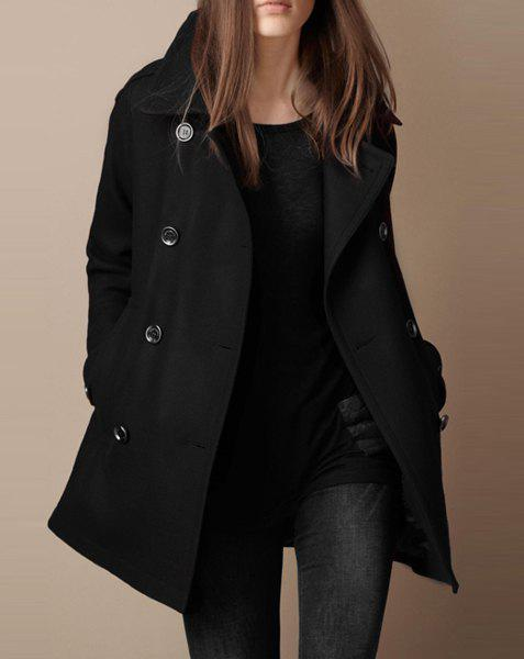 Chic Turn-Down Neck Long Sleeve Pocket Design Women's Peacoat ...