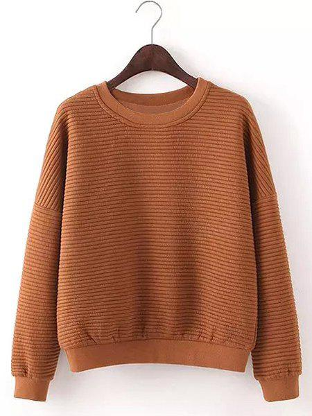 Brief Candy Color Jewel Neck Long Sleeve Pullover Sweatshirt For Women - KHAKI M