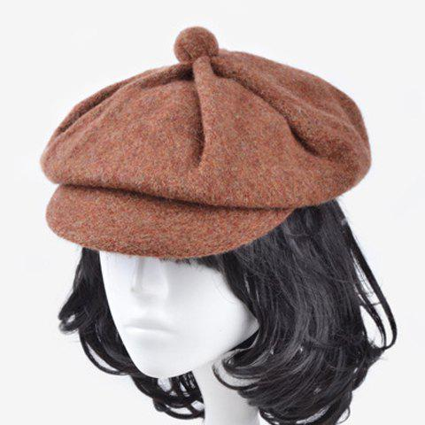 Chic Small Ball Embellished Solid Color Women's Winter Newsboy Cap - CAMEL