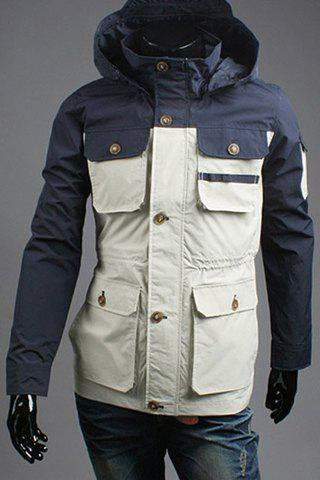 Stylish Hooded Color Block Splicing Multi Pockets Long Sleeve Men's Jacket - OFF WHITE L