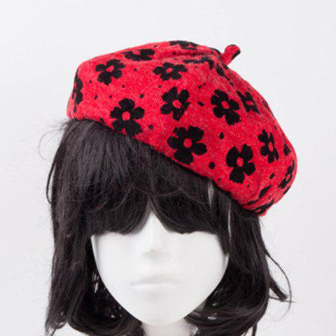 Chic Fulled Flowers Pattern Women's Winter Beret -  RANDOM COLOR