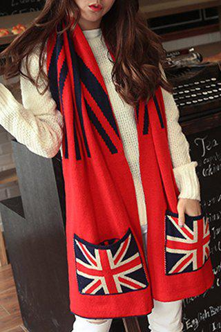 Chic Union Flag Pattern Pocket Embellished Women's Winter Scarf - RANDOM COLOR