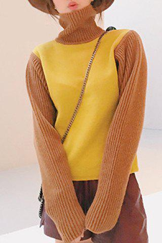 Sweet Color Block Turtleneck Long Sleeve Pullover Sweater For Women - YELLOW ONE SIZE(FIT SIZE XS TO M)
