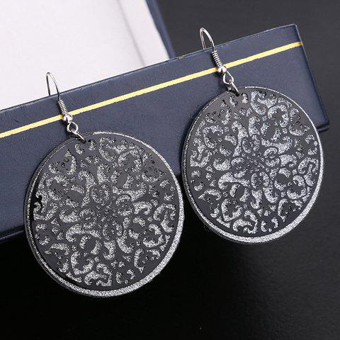 Pair of Flower Hollow Out Drop Earrings - BLACK